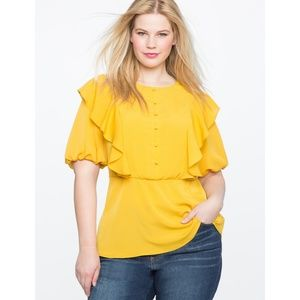 Peplum Ruffle Blouse with Bib 💛